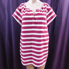 Ann Taylor Loft Blouse Short Sleeve Vneck Red White Striped Nautical Women's XL