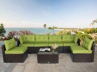 7 Pcs Rattan Chair Wicker Set,Outdoor Indoor Use Garden  Furniture in Green