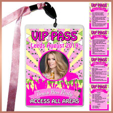 * Personalised FESTIVAL VIP Pass Lanyard + Photo Badge /Card- Hen Do Party Night