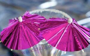 12 x Pink Foil  Cocktail umbrellas,DRINK DECORATIONS