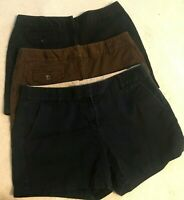 Lot of 3 Womens Size 6 Shorts J Crew Ann Taylor Chinos Khakis Black Navy Brown