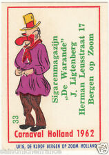 33. MATCHBOX LABEL 1962 CARNAVAL COSTUME NETHERLANDS PAYS BAS Carnival CARD 60s