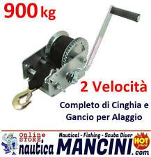 VERRICELLO ARGANO 900 KG MANUALE +NASTRO e GANCIO BARCA GOMMONE CARRELLO ALAGGIO