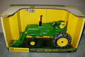 1/16 4020 JOHN DEERE Dealer Edition Toy Tractor with 48 Loader, Chains NIB Ertl