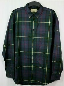 Cabela's Outfitter Series 2XL Tall Dark Tartan Plaid Shirt Button Down Collar