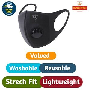 Face Mask Washable Reusable Black Filter   Unisex Half Face Cover Protection UK