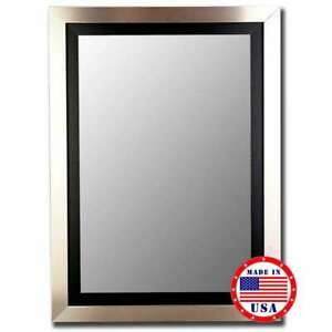 """Hitchcock Butterfield 32"""" X 44"""" Silver / Black Framed Wall Mirror - 257802"""