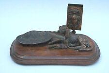 Rauchergarnitur mit Jagdhund, Bronze, um 1900