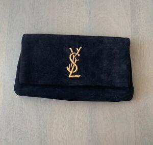 YSL Yves Saint Laurent Black Suede Twigs Clutch Purse Flip Wallet
