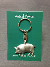 KEYRING ASTRAL PEWTER MINATURE MICRO PIG KEYCHAIN HAND CRAFTED UK FINISH NEW