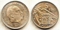 Spain-Estado Español - 5 Pesetas 1957*62 Madrid. SC/UNC. Niquel. 5,7 grs.