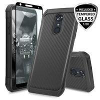 For LG Stylo 4 / 4 Plus Hybrid Carbon Fiber TPU Armor Case+Black Tempered Glass