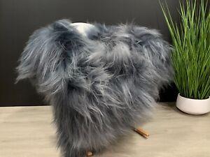 New Real Genuine Icelandic Sheepskin Rug Pelt Dyed Gray Graphite Color Very Soft