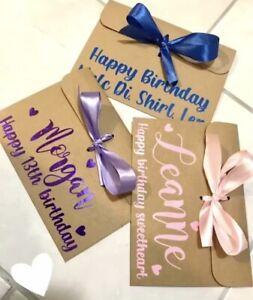 Personalised Name Money Wallet Envelope/Gift/Voucher(Christmas/Birthday/Wedding)