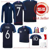 FRANCE National 2* Griezmann Pogba Mbappe Kids Jersey Kit Age 3 - 13 Yrs