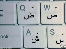 High Quality Arabic TRANSPARENT Keyboard Stickers BLACK Letters