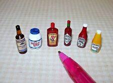 Miniature Condiment Assortment #2  (6): DOLLHOUSE Miniatures 1/12 Scale