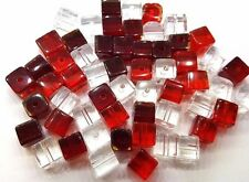 50 pieces 6mm Crystal Glass Square / Cube Beads - Red Mix - A3063