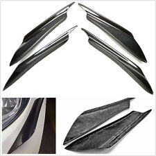4 Pcs Black Real Carbon Fiber Car Front Bumper Splitter Fins Decoration Stickers
