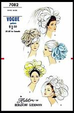 BRIDAL VEIL HAT Wedding Sewing Pattern VOGUE #7082 Designer HALSTON Fascinator