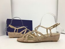 Stuart Weitzman Turningdown Adobe Crystal Snake Women's Wedge Heel Sandals 6.5 W