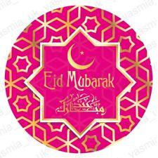 30 Eid Mubarak Gold Foil Stickers Dark Pink Star Decorations