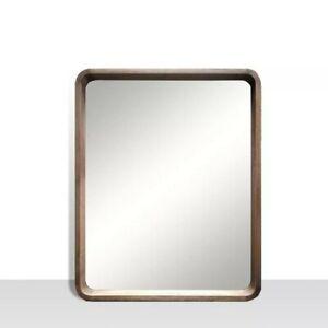 Walnut Vanity Mirror with Rounded corners. Genuine Wood, 25 inch x 31 inch
