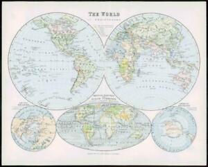 1903 Original Antique Colour Map WORLD HEMISPHERES OCEAN CURRENTS  (2)