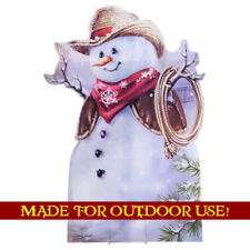 COWBOY SNOWMAN Plastic Outdoor YARD SIGN Weather Resistant Christmas FREE SHIP