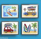 Malibu Surf Up Art Prints for Nursery or Bedroom-Compliments North Shore Bedding