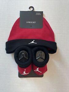 Jordan Infant Hat & Bootie Socks Red/black 0-6Months New .