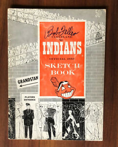 1950 CLEVELAND INDIANS BASEBALL SCETCH BOOK PROGRAM SIGNED BOB FELLER