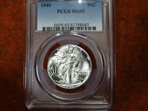 1940 Walking Liberty Half Dollar,PCGS MS65 ?,Blast White,Gem BU,Super Minty,WOW
