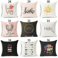 """18"""" Funny Art Words Cotton Linen Pillow Case Sofa Throw Cushion Cover Home Decor"""