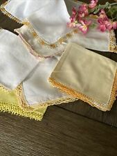 Vintage Ladies Handkerchiefs Yellow Orange Crocheted Tatted Lace Lot Of 7