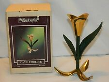 VINTAGE NEW IN BOX HANDCRAFTED BRASS & IRON TULIP SHAPED CANDLE HOLDER -INDIA