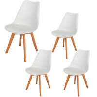 4pcs Simple Dining Chair Solid Wood Foot Padded Plastic Chair White Color