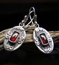 Oval silver garnet earrings dangle sterling silver retro earrings garnet jewelry