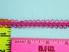 "Double Loop Gimp Braid Trim Fancy Braid Rayon Ribbon 1/2"" Hot Pink  4 yds #BG177"