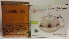 CHINESE JASMINE GREEN TEA 1 LB. BOX & Stainless Steel Glass TEA POT Teapot