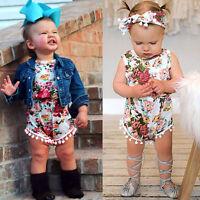 Newborn Toddler Baby Girls Floral Bodysuit Romper Jumpsuit+Headband Clothes Set