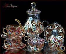 "Bohemian Crystal Tea Set 300ml/1250ml, ""Versal"" Rubin 14 pc New!"