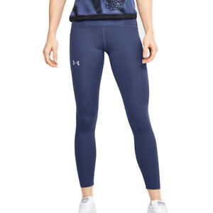 Under Armour HeatGear Speedpocket Qualifier Perforated Blue Ankle Crop Leggings