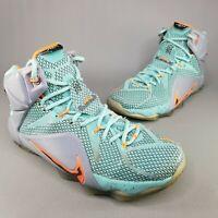 Nike Mens Lebron XII 12 NSRL Miami Dolphins Basketball Shoes Size 8 Teal Orange