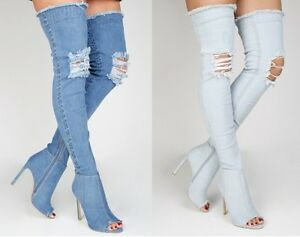 LADIES WOMENS OVER THE KNEE THIGH HIGH BOOTS HEELS STILETTOS DENIM STRETCH SIZE