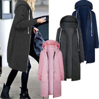 Warm Winter Women Lady Long Sleeve Hooded Cardigan Zip Up Jacket Coat Plus Size
