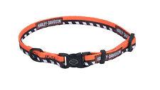 "Harley Davidson Li'l Bikers Orange/Black Check 3/8""W  8""-12"" L Nylone Dog Collar"