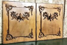 Pair bow garland flower wood carving panel antique french architectural salvage