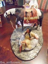 "Daniel Monfort ""Indian girl w/ horse in the river""  Original Western Hydro Stone"
