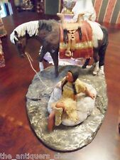 "Daniel Monfort ""Indian girl w/ horse in the river""  Original Western Hydro Stone"